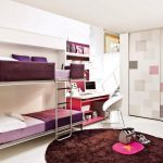 lovable brown and purple convertible bunk bed idea with plaid accent wall partition and round brown area rug and stairs and desk with white chair