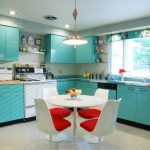 Lovable Soft Blue Kitchen Paint Idea With White Dining Set And Red Accent On The Chairs With Pendant
