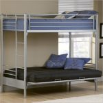 low profile bunk bed design in navy blue and black ombination with gray frame and wooden floor and glass window and white area rug