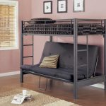 low profile convertible bunk bed idea with black gray color combination and sofa bed and cushion and stairs and area rug