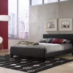 low profile platform bed frame in bedroom decorating ideas with silver bedding and black modern rug plus bedside table and white pendant lamp