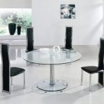 Luxurious And Classy Black Unique Dining Chair Idea With Round Glass Table And White Flooring And Glass Window