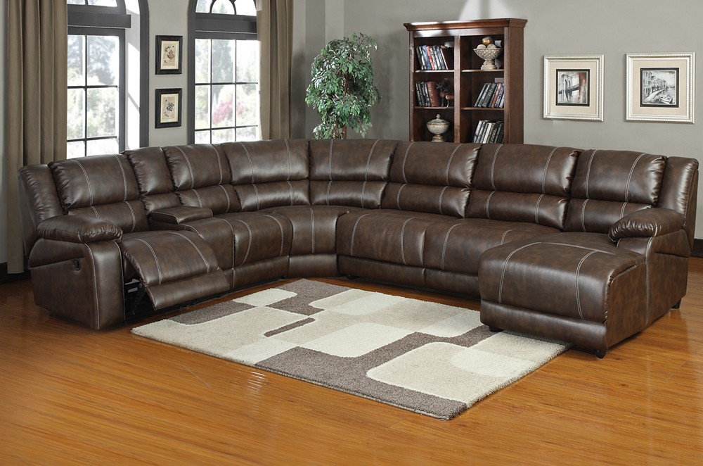 Luxurious Modern Leather Sectional Sofa With Reclining And White Gray Area Rug Blue Painted Wall