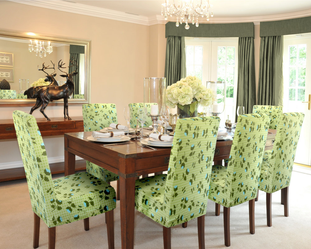 Mesmerizing Dining Room With Rectangular Wooden Table Drawers And Green Slip Cover For Chair
