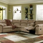 microfiber sectional with mounted chaise an area rug with modern pattern and color schemes a multihead floor lamp idea wall open shelves in black