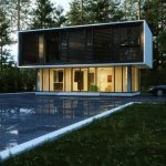 minimalist block style forest house design with black and white combination and open plan and swimming pool