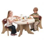 minimalist-design-of-new-traditions-kids-3-pieces-table-and-chairs-set-by-step2-with-unique-X-legs-and-non-toxic-for-2years-above