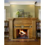 mission style fireplace with yellow ceramic tiles wall and floor idea