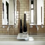 modern and cozy kitchen ideas with brown colored subway tile plus steel faucet and modern sink
