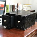 Modern And Fashionable Cd Storage With 2 Drawers Made Of Black Leather In Creative Design