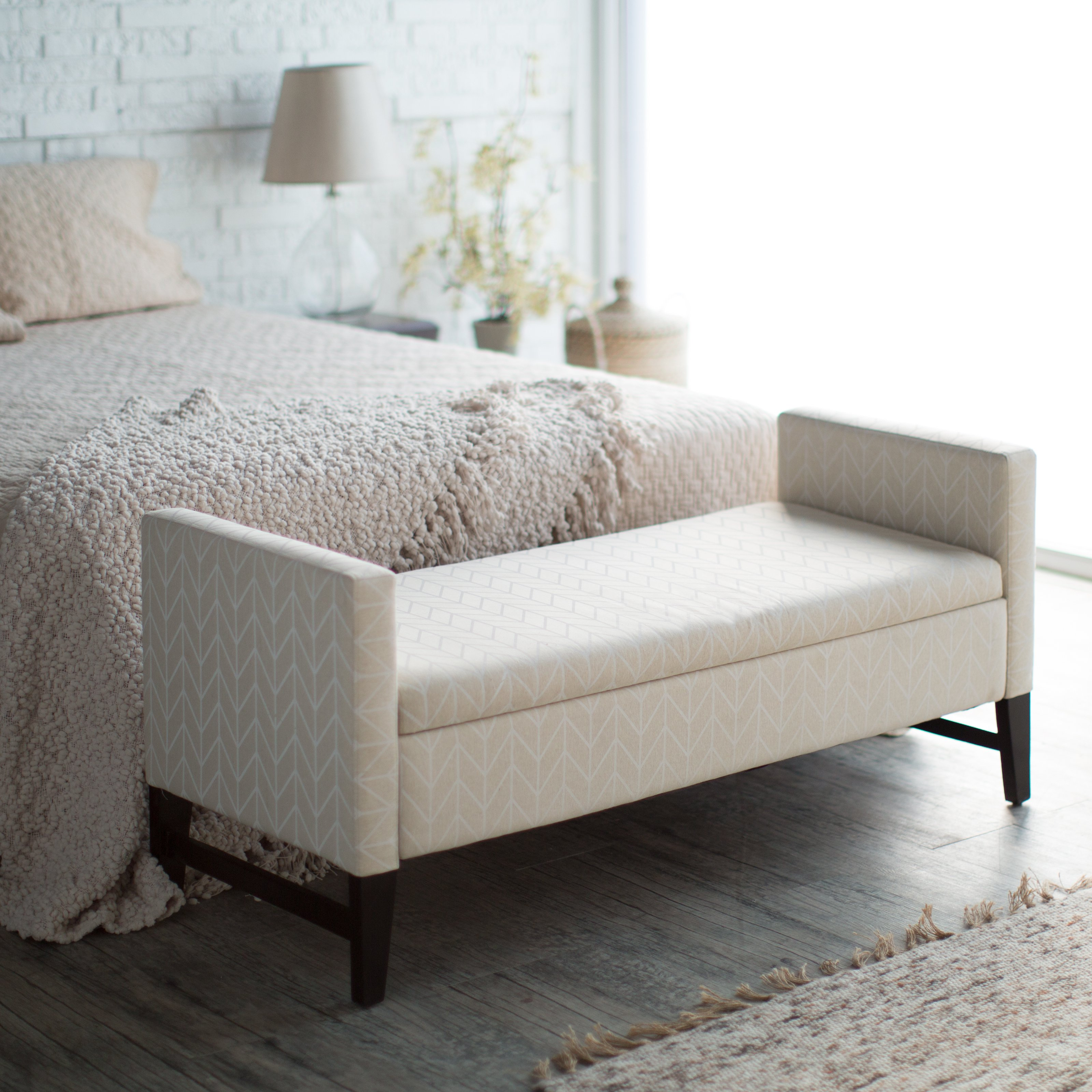 Modern End Of Bed Storage Bench With Stunning Motif Decorated In Bedroom Comfy Bedding Plus
