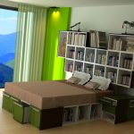 modern-green-tetran-design-and-beige-bed-and-white-pillows-with-bookshelves-also-green-and-white-wall-with-white-curtain-and-large-glass-window