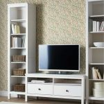Modern White TV Cabinet With A Pair Of White Tall Book Shelves IKEA A Flat TV Set