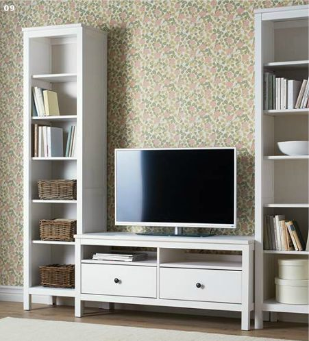 Modern White Tv Cabinet With A Pair Of Tall Book Shelves Ikea Flat