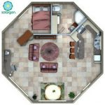 octagon-cabin-plans-with-one-bedroom-centre-liviing-room-with-round-table-and-bathroom-and-kitchen-also-small-dining-room-with-white-round-table-and-brownchairs