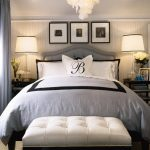 old hollywood glamour decor for bedroom with end bed bench and wooden nightstands and decorative lighting