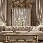 old hollywood glamour decor for living room ideas with tufted sofa and wooden table plus unique standing floor lamp plus wooden side table and curtain