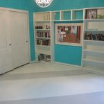 perfect white stripe floor painting idea of interior with blue siding paint and storage