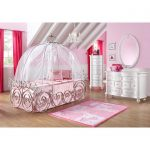 pink-carriege-canopy-bed-for-girls-surrounded-with-pink-wall-and-windows-with-bold-pink-curtain-also-mirror-on-the-white-dressers-and-beige-wooden-floor