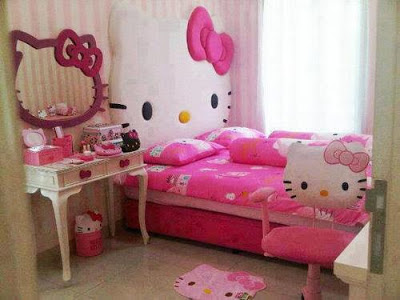Pink Hello Kitty Bedroom With Wall