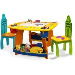 playful yellow art table for kids idea with blue and green chairs and toy storage and palette for brush