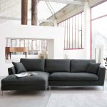 posh moder gray sectional sofa with chaise idea with double height living room and open plan and area rug and pillows