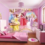 Princess From Disney Bedding Idea With All Pink Bed And Pillow And Sheet And Pink Vanity With Crown Pattern And Glass Window And Wallpaper And Pink Chandelier