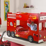 red-fire-engine-car-bed-design-for-kids-and-bunk-bed-surounded-with-white-wall-and-white-floor