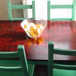 Retro Green Ikea Chair Design With Natural Rectangle Wooden Dining Table With Glass Fruit Place