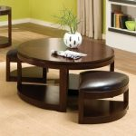 round coffee tables with storage for stools combined with white pot and modern rug plus adorable wooden floor