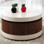 round coffee tables with storage with white and brown accent made of wooden decorated with furry rug and greenery in colorful pots