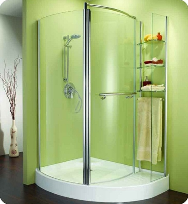 Round Corner Shower Units With Modern And Gl Storage Oustside Plus Green Painted Wall