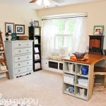rustic-ladder-shelf-for-rustic-home-office-with-pottery-barn-style-combined-with-white-cabinet-and-rustic-chair-and-table