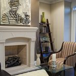 rustic-ladder-shelf-in-the-corner-of-stylish-living-room-with-fireplace-and-artwork-for-placing-decorative-items