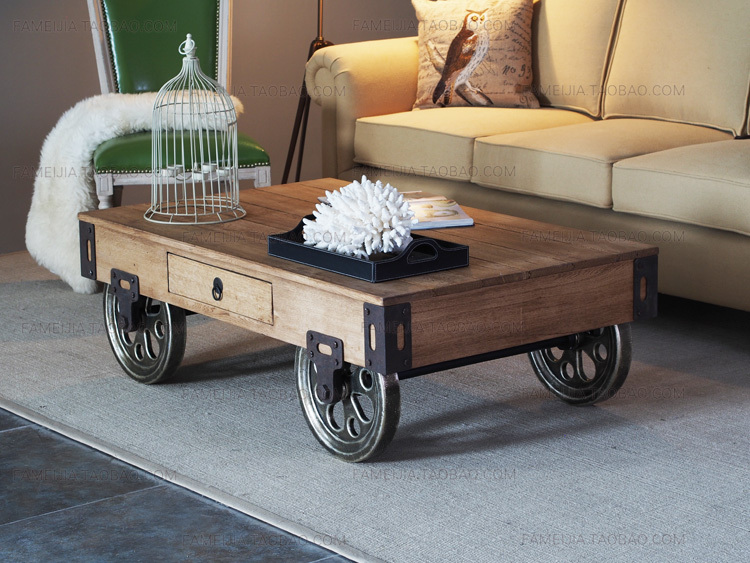 Rustic Wood Coffee Table With Wheels On Grey