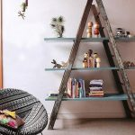 rustic-wooden-ladder-shelf-for-play-room-near-window-and-papasan-chair-and-cushion-also-some-books-and-decorative-items