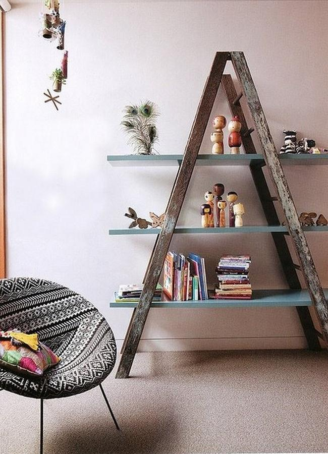 Rustic Wooden Ladder Shelf For Play Room Near