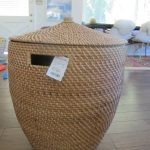 simple senegalese storage baskets made of fiber decorated on wooden floor for home
