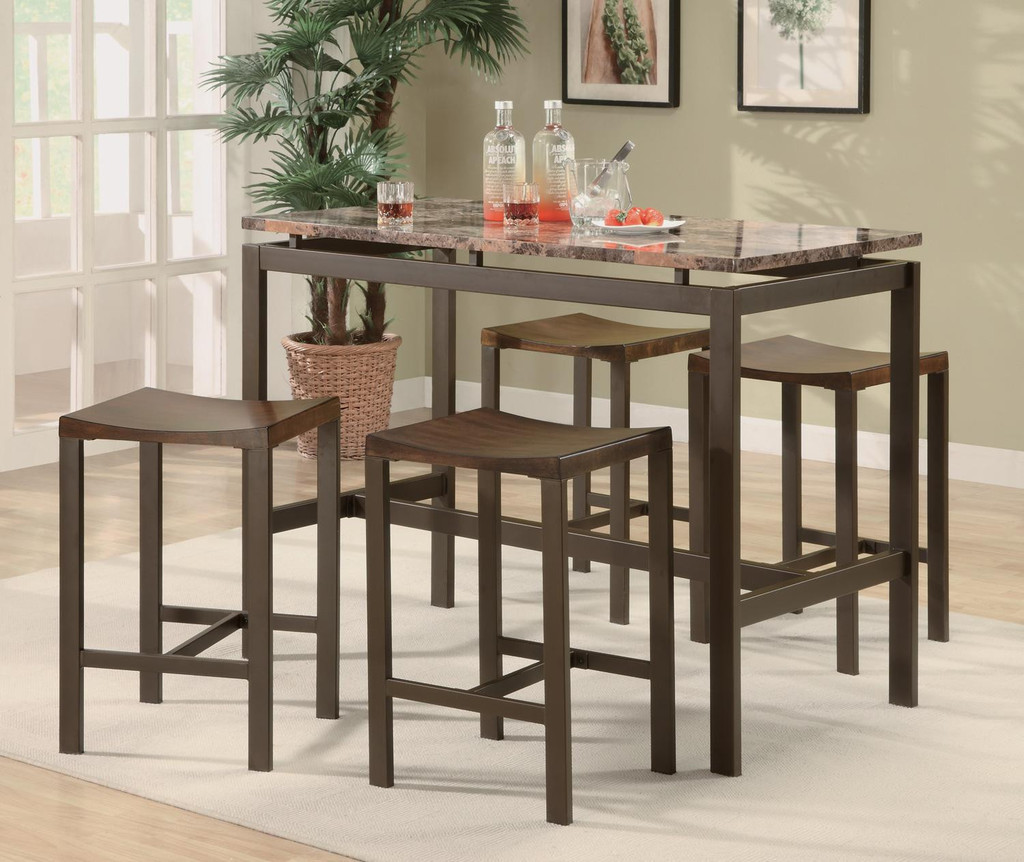 Simple Small Rectangular Dining Table With Wooden Bar Stools Plus Marble Top And Light Rug