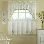 simply whit but elegant jcpenney kitchen curtain design with sleeve on the top curtain and short green accent on the bottom