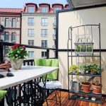 Small Lovely Balcony Idea With Wooden Floor And Black Table And Chair And Vertical Garden And Colorful Rug