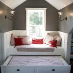 small room ideas with window seats with storage completed with bedding set plus wall scones and bed under guded