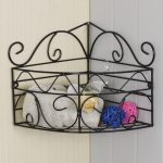 small wrought iron corner shelf idea