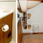 Smart Underneath Bathroom Sink Organizer Used For Hidden Litterbox For The Kitty With Small Hole On The One Side Of The Cabinet