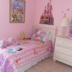 Soft Pink Princesss Bedding Idea With Snow White And Castle Wallpaper And Pink Curtain Design And Pink Small Vanity And Wall Mirror
