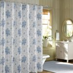 soft purple floral bohemian shower curtain design with white tub and white vanity and oval wall mirror and glass window