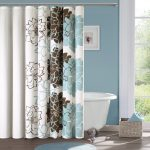 Soft Vintage Nature Shower Curtain Design With Floral Pattern In Brown And Blue On White Cloth In Blue Bathroom
