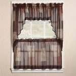 sophisticated brown and ombre jcpenney kitchen curtain design with sleeve on the top and short curtain on the bottom