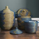 sophisticated senegalese storage baskets in blue zig zag pattern