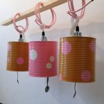 stunning and playful can light conversion idea in yellow and pink color with polka dot pattern and pink suspension on wooden track